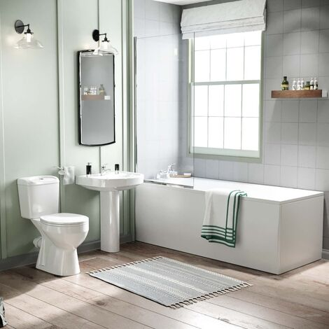 """main image of """"Seattle Close Coupled Toilet, Pedestal Basin, Round Bath & Shower Screen Suite White"""""""