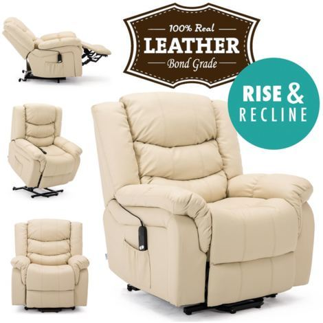 SEATTLE ELECTRIC RISE LEATHER RECLINER ARMCHAIR SOFA HOME LOUNGE CHAIR - different colors available