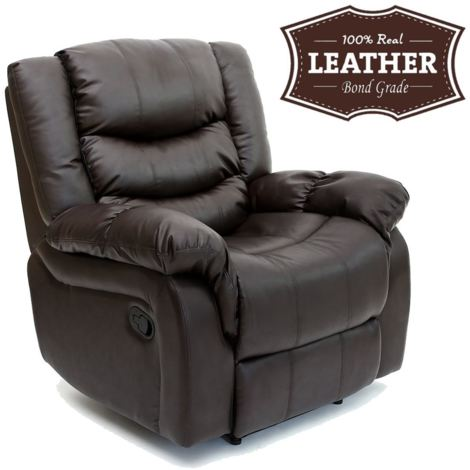 SEATTLE LEATHER RECLINER ARMCHAIR SOFA HOME LOUNGE CHAIR RECLINING - different colors available