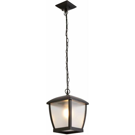 Seattle Outdoor Pendant Light - Black with Clear Frosted Acrylic Panels