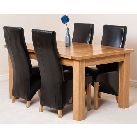 Seattle Solid Oak 150cm-210cm Extending Dining Table with 4 Lola Dining Chairs [Black Leather]