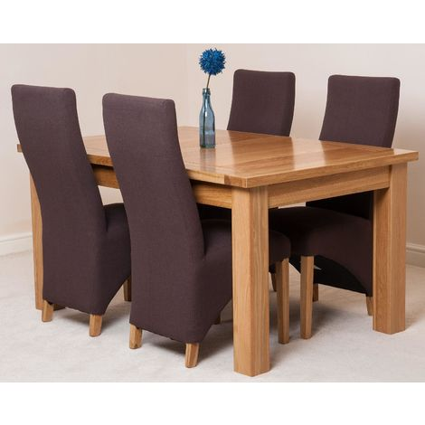 Seattle Solid Oak 150cm-210cm Extending Dining Table with 4 Lola Dining Chairs [Brown Leather]