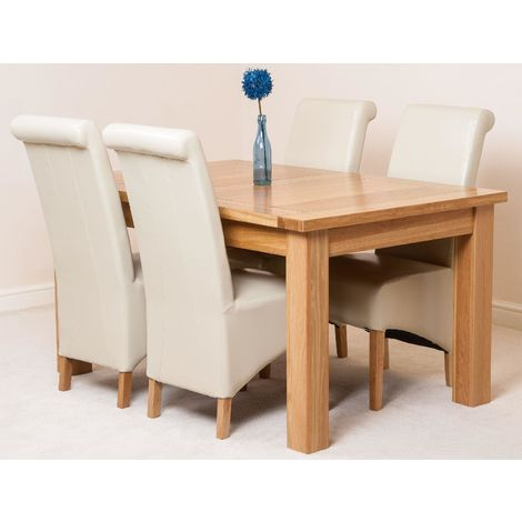 Seattle Solid Oak 150cm-210cm Extending Dining Table with 4 Montana Dining Chairs [Ivory Leather]