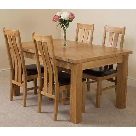 Seattle Solid Oak 150cm-210cm Extending Dining Table with 4 Princeton Solid Oak Dining Chairs [Light Oak and Brown Leather]