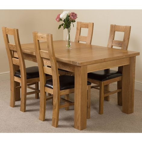 Seattle Solid Oak 150cm-210cm Extending Dining Table with 4 Yale Solid Oak Dining Chairs [Light Oak and Brown Leather]