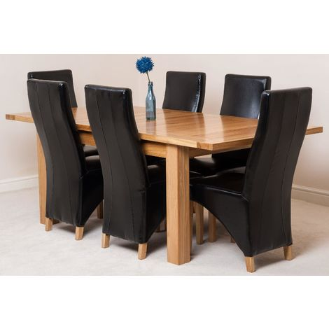 Seattle Solid Oak 150cm-210cm Extending Dining Table with 6 Lola Dining Chairs [Black Leather]