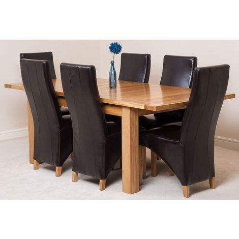 Seattle Solid Oak 150cm-210cm Extending Dining Table with 6 Lola Dining Chairs [Brown Leather]