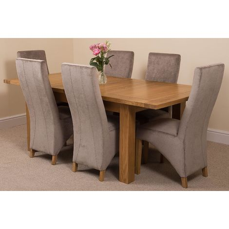 Seattle Solid Oak 150cm-210cm Extending Dining Table with 6 Lola Dining Chairs [Grey Fabric]