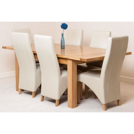 Seattle Solid Oak 150cm-210cm Extending Dining Table with 6 Lola Dining Chairs [Ivory Leather]