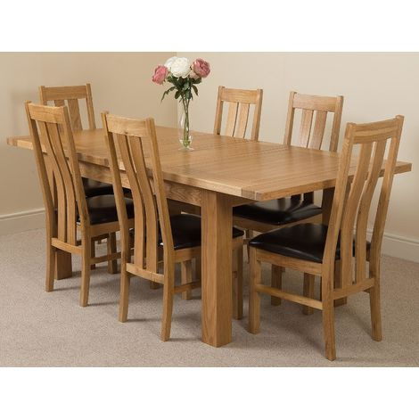 Seattle Solid Oak 150cm-210cm Extending Dining Table with 6 Princeton Solid Oak Dining Chairs [Light Oak and Brown Leather]
