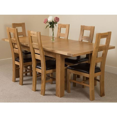 Seattle Solid Oak 150cm-210cm Extending Dining Table with 6 Yale Solid Oak Dining Chairs [Light Oak and Brown Leather]