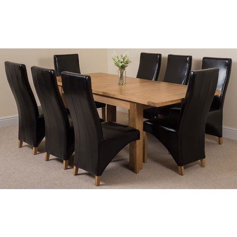 Seattle Solid Oak 150cm-210cm Extending Dining Table with 8 Lola Dining Chairs [Black Leather]