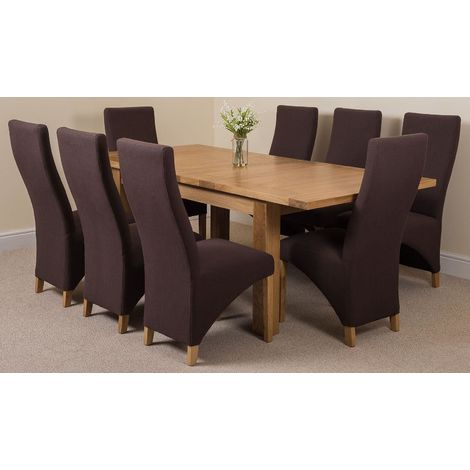 Seattle Solid Oak 150cm-210cm Extending Dining Table with 8 Lola Dining Chairs [Brown Leather]