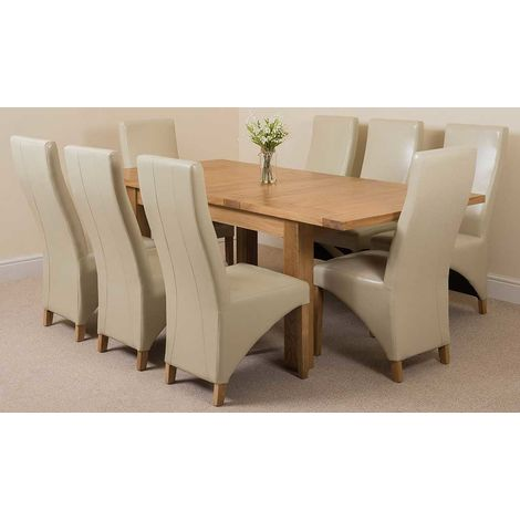 Seattle Solid Oak 150cm-210cm Extending Dining Table with 8 Lola Dining Chairs [Ivory Leather]