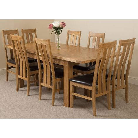 Seattle Solid Oak 150cm-210cm Extending Dining Table with 8 Princeton Solid Oak Dining Chairs [Light Oak and Brown Leather]
