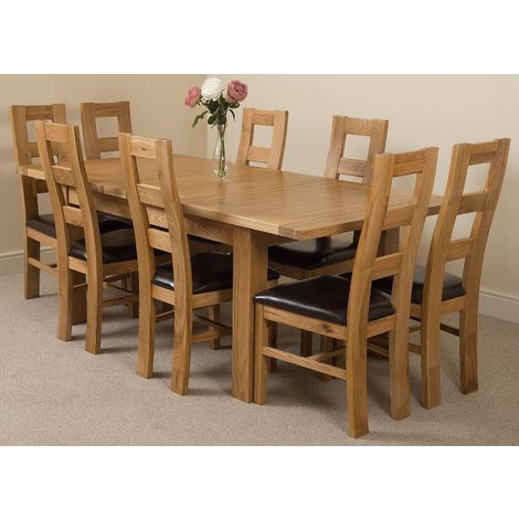 Seattle Solid Oak 150cm-210cm Extending Dining Table with 8 Yale Solid Oak Dining Chairs [Light Oak and Brown Leather]