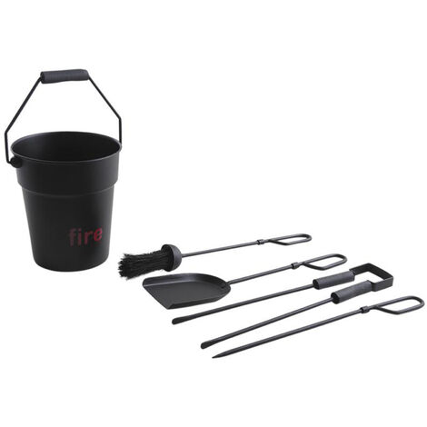 Seau à cendre avec 4 accessoires de cheminée métal noir mat - Dim : Ø 22 x h 25 cm