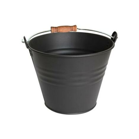 Seau à cendre en métal noir - poignée bois - capacité 7 litres