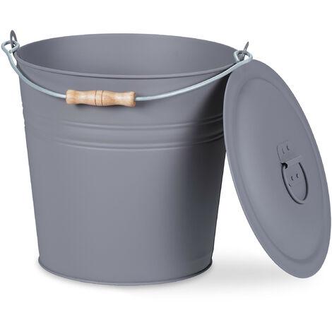 Seau à cendres, avec couvercle, 12 litres, poignée de transport, bac à charbon, cheminée & barbecue, gris
