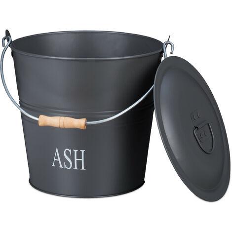Seau à cendres, avec couvercle, 12 litres, poignée de transport, cheminée & barbecue, bac à charbon, gris