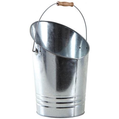 Seau à cendres en métal galvanisé - ø 27-30 x h 26-39 cm -PEGANE-