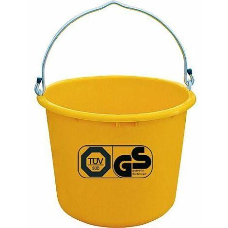 Seau de chantier 12L jaune accrochable TüV emballage 5 pces