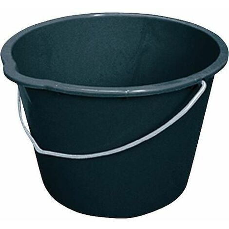 Seau de chantier 12L noir avec bec verseur emballage 10 pces