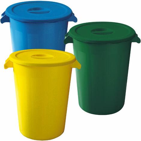 Seau industriel de recyclage de 100 litres. Couleurs chacune : 300 litres au total, dans 3 conteneurs, dans les couleurs bleu/vert/jaune