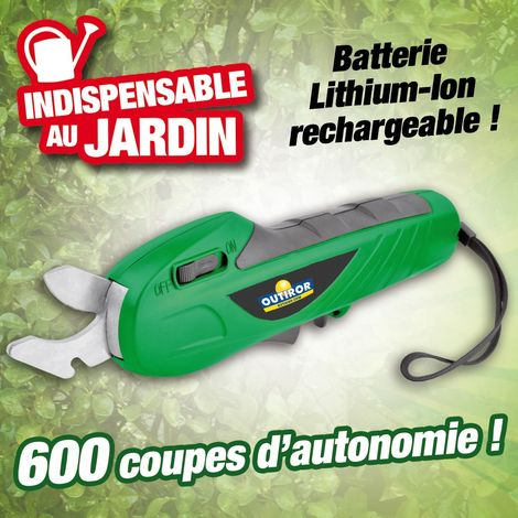 Sécateur électrique à batterie Lithium-Ion rechargeable - 7,2 volts - 1,3 mAh
