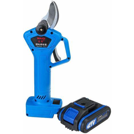Sécateur électrique rechargeable sans fil 21V 1500W sécateur ciseau de coupe de branche avec 2 batteries et 1 chargeur