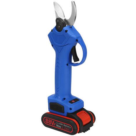 Sécateur électrique sans fil 88V Sécateur Coupe-branche coupe-bois avec 2 piles bleu
