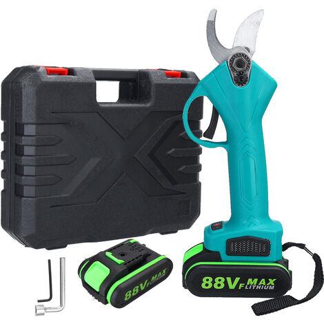 Sécateur électrique sans fil sécateur coupe-branches ciseaux coupe max. 30mm 88V 18000mAh 2 batterie