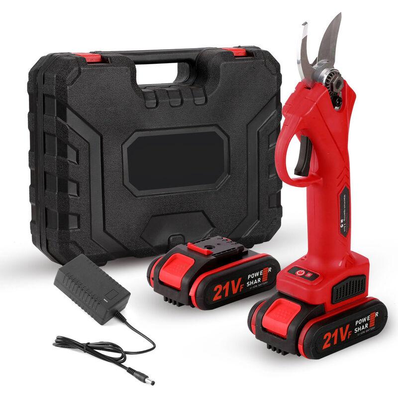 Happyshopping - Secateur electrique, secateur rechargeable pour arbres fruitiers de jardinage et de jardinage, rouge, norme europeenne 220V