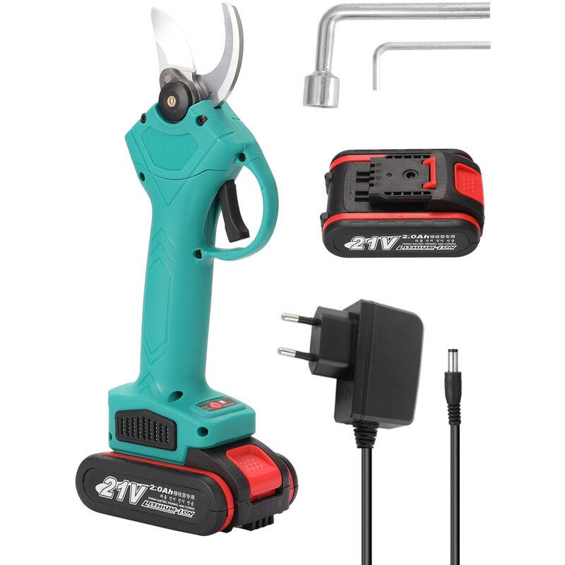Secateur electrique jardinage et jardinage sans fil secateur d'arbres fruitiers deux electricite un chargeur bleu, EU 220V - HAPPYSHOPPING