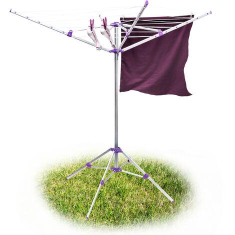 Sèche-linge Corde 19 m parapluie Support avec 4 piétements, Aluminium