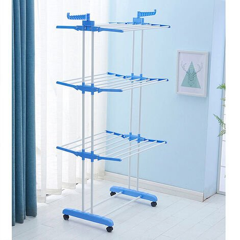 Sèche-linge étendoir à linge pliable intérieur et extérieur 3 étagères séchoir airer bleu blanc