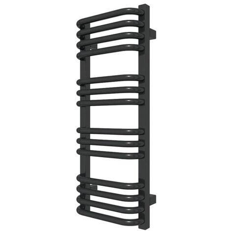 Sèche-serviette chauffage central - Noir Mat - Raccordement au centre - Alex/ZXN (plusieurs tailles disponibles)