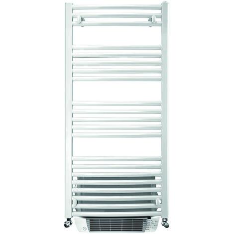 Sèche-serviette eau chaude + soufflerie Capitole 2 - finitions epoxy - cintré - blanc 429+1000W - 880x550