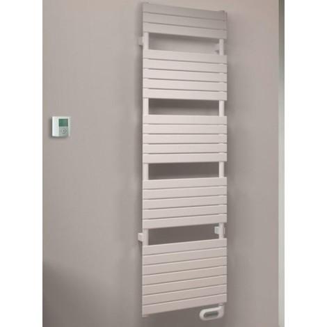 Sèche-serviette électrique 1000W H1516mm L606mm blanc tubes plats 50X10mm thermostat radio déporté CONCERTO2 ALTERNA 1538352
