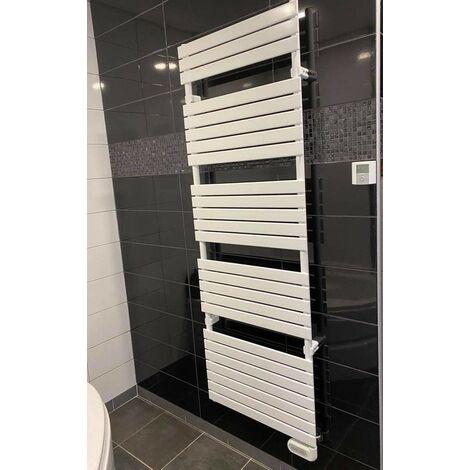 Sèche-serviette électrique 1200W H1740mm L606mm blanc tubes plats 50X10mm thermostat radio déporté CONCERTO2 ALTERNA 1538355