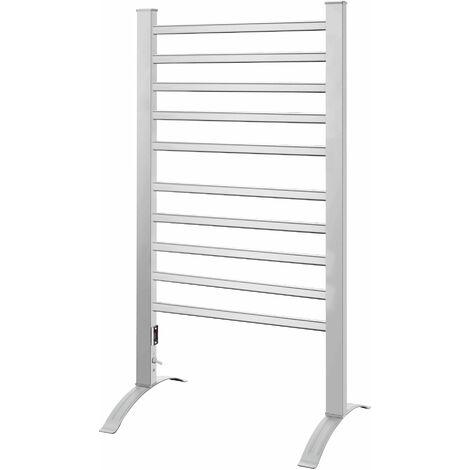 Sèche serviette électrique à fixer ou à poser 150W 10 Barres VISTA Aluminium H92 cm
