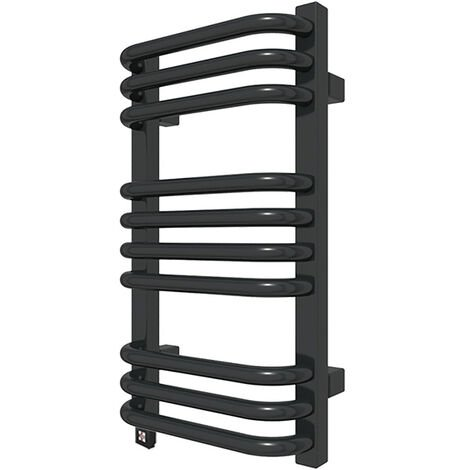 Sèche-serviette électrique noir - Raccordement à gauche - Alex/E1N (plusieurs tailles disponibles)