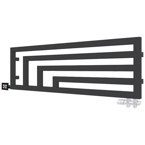 Sèche-serviette horizontal mixte noir - Raccordement à gauche - Angus/Y2N (plusieurs tailles disponibles)