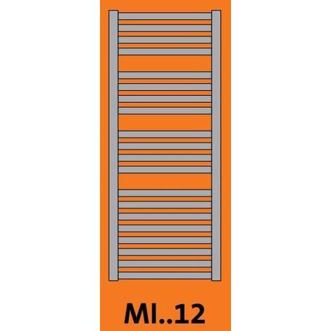 Seche-serviette mixte 500W EC + 750W elec blanc H1220mm L500mm cintré thermostat IR MINORCA RADSON MI0512MIX