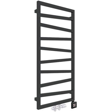 Sèche-serviette mixte noir - Raccordement au centre et à droite - Zigzag/Z8N (plusieurs tailles disponibles)