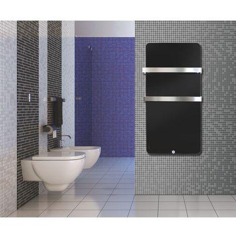 """main image of """"HAVERLAND Sèche-serviettes Electrique en Verre Extra Plat Noir - 600W Design Moderne"""""""