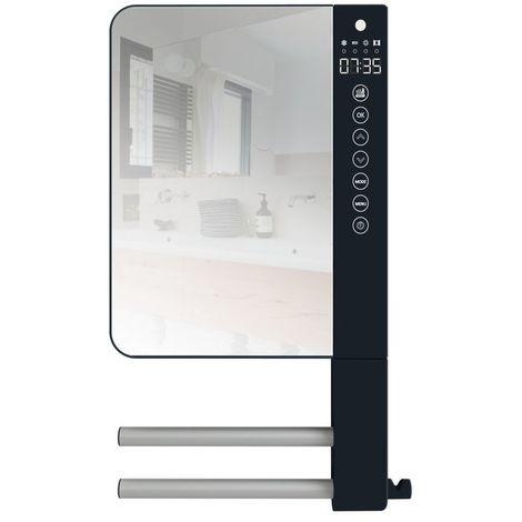 Seche-serviette soufflant Telia gris avec 2 barres et miroir