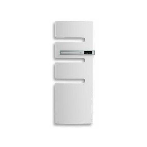 Sèche-serviettes connecté soufflant Serenis - Mât à droite - 500+1000W - Blanc brillant