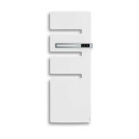 Sèche-serviettes connecté soufflant Serenis - Mât à droite - 500+1000W - Blanc mat