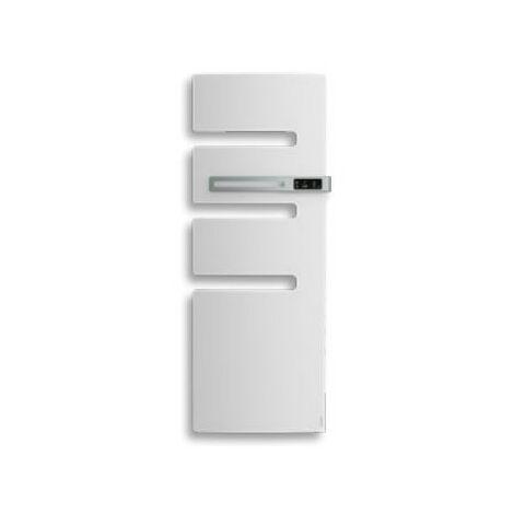 Sèche-serviettes connecté soufflant Serenis - Mât à gauche - 500+1000W - Blanc brillant